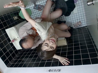Asian Babe Having stool trio With An Old Man